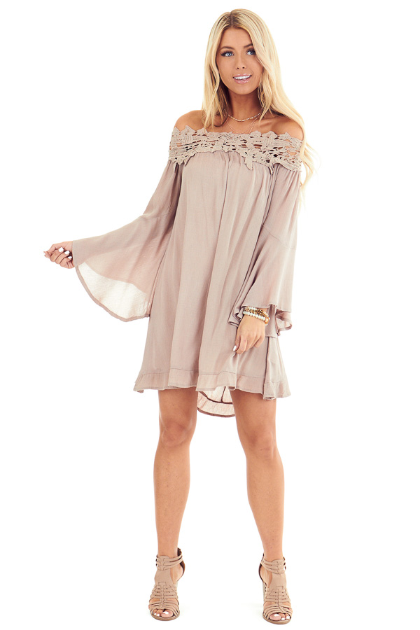Latte Off Shoulder Bell Sleeve Dress with Crochet Details front full body