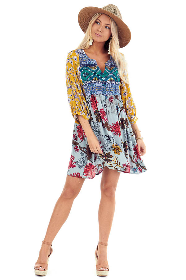 Multi Color Babydoll Dress with Multi Print and Buttons front full body