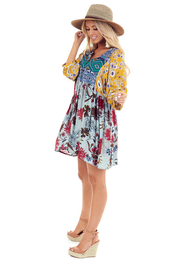 Multi Color Babydoll Dress with Multi Print and Buttons side full body