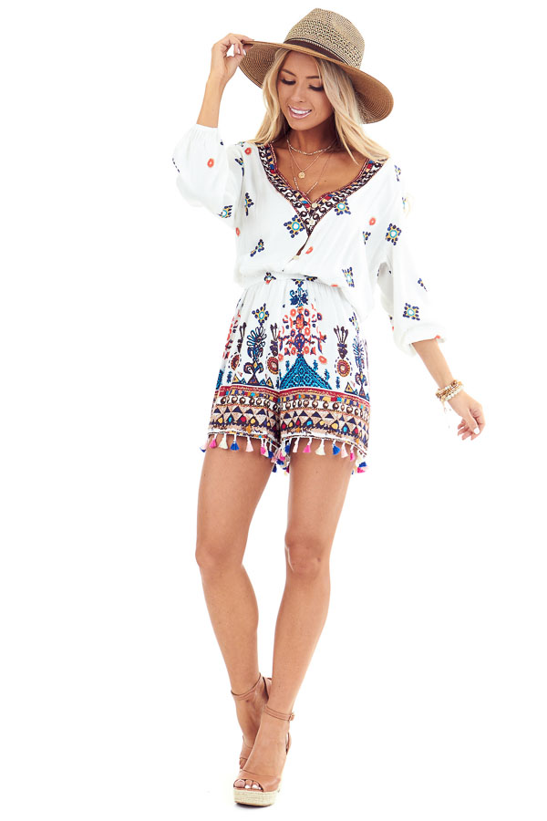 Ivory Printed 3/4 Sleeve Romper with Tassel Details front full body
