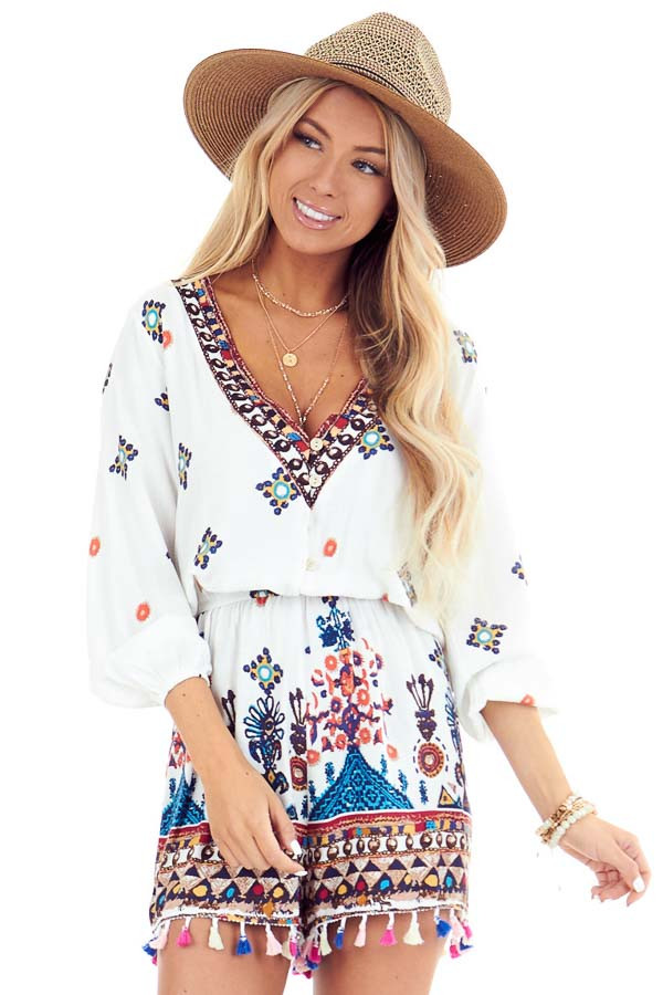 Ivory Printed 3/4 Sleeve Romper with Tassel Details front close up