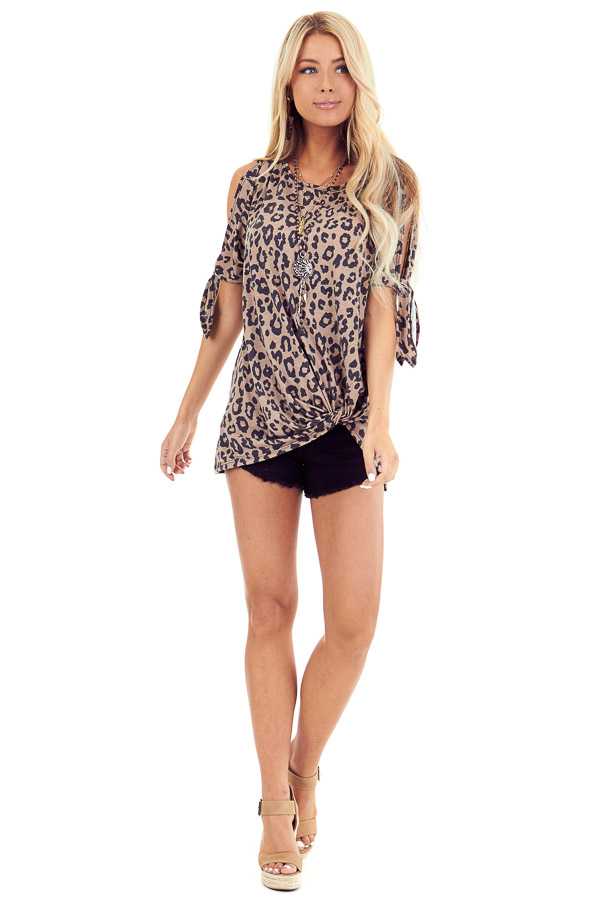 Leopard Print Cold Shoulder Top with Front Twist and Ties front full body