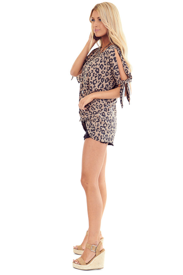 Leopard Print Cold Shoulder Top with Front Twist and Ties side full body