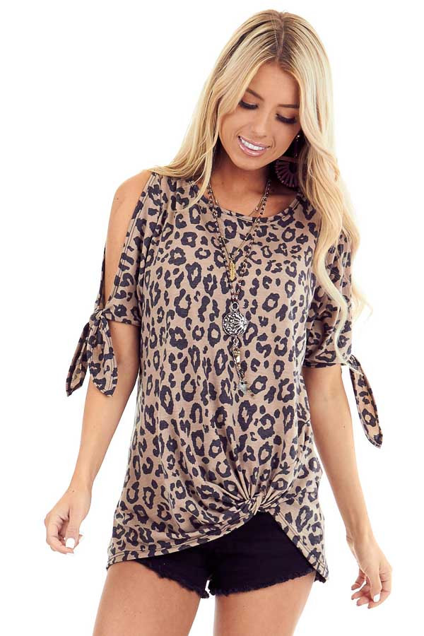Leopard Print Cold Shoulder Top with Front Twist and Ties front close up