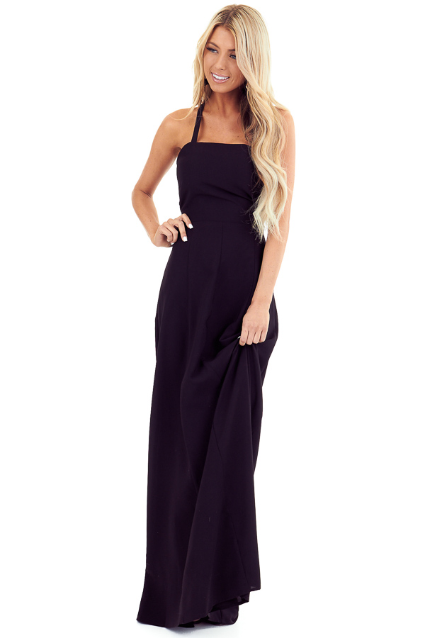 Midnight Black Lace Up Backless Halter Maxi Dress front full body
