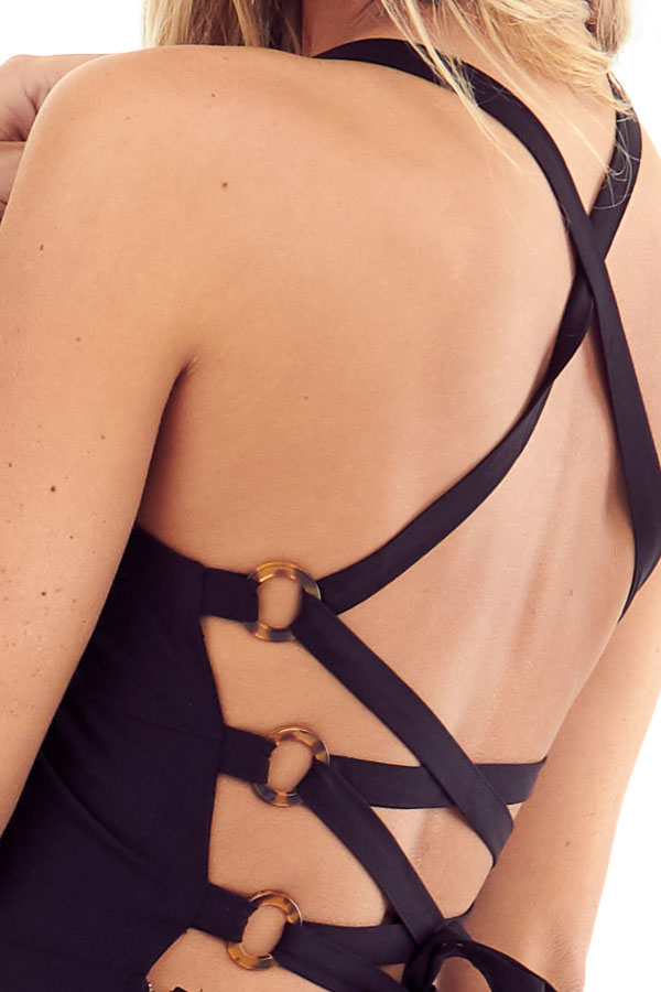 Midnight Black Lace Up Backless Halter Maxi Dress detail