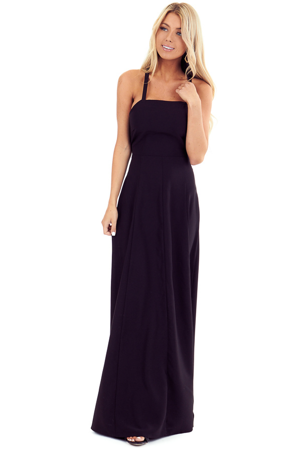 Midnight Black Lace Up Backless Halter Maxi Dress front close up
