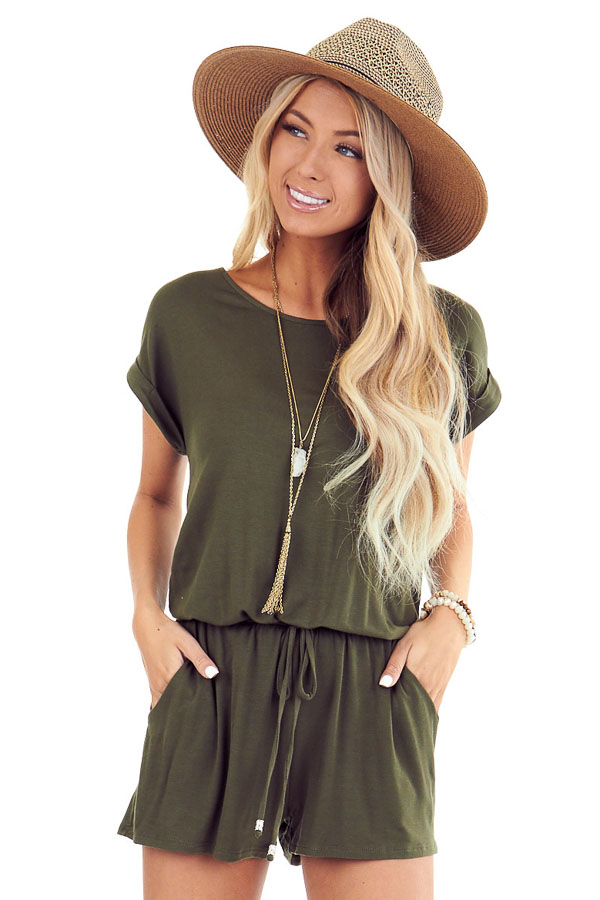 Army Green Short Cuffed Sleeve Romper with Pockets front close up