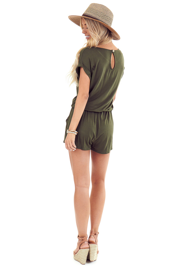 Army Green Short Cuffed Sleeve Romper with Pockets back full body