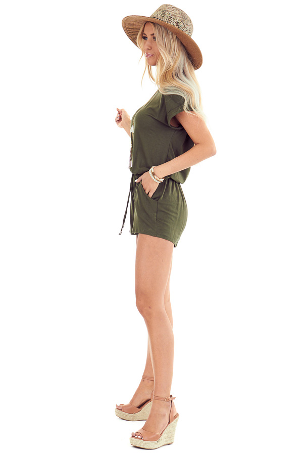 Army Green Short Cuffed Sleeve Romper with Pockets side full body