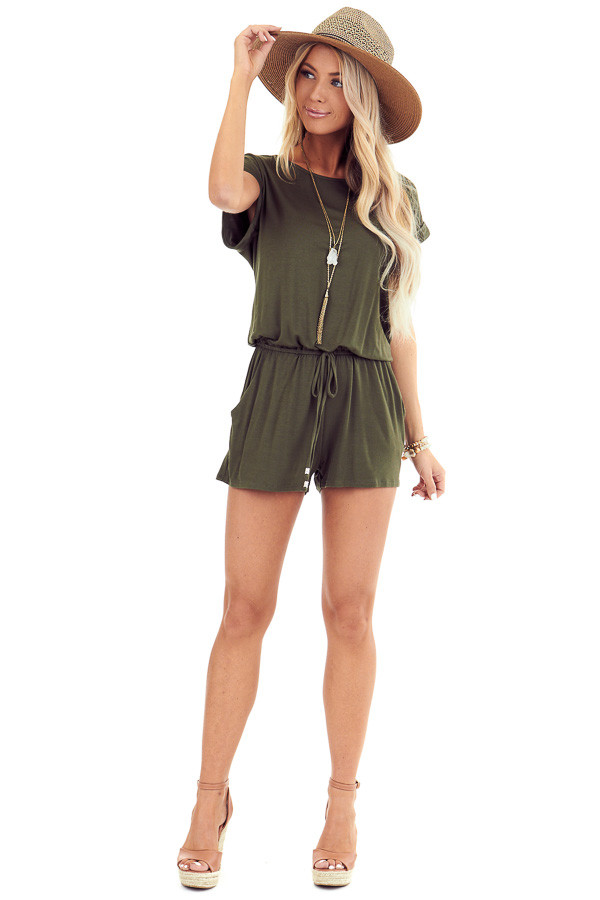 Army Green Short Cuffed Sleeve Romper with Pockets front full body