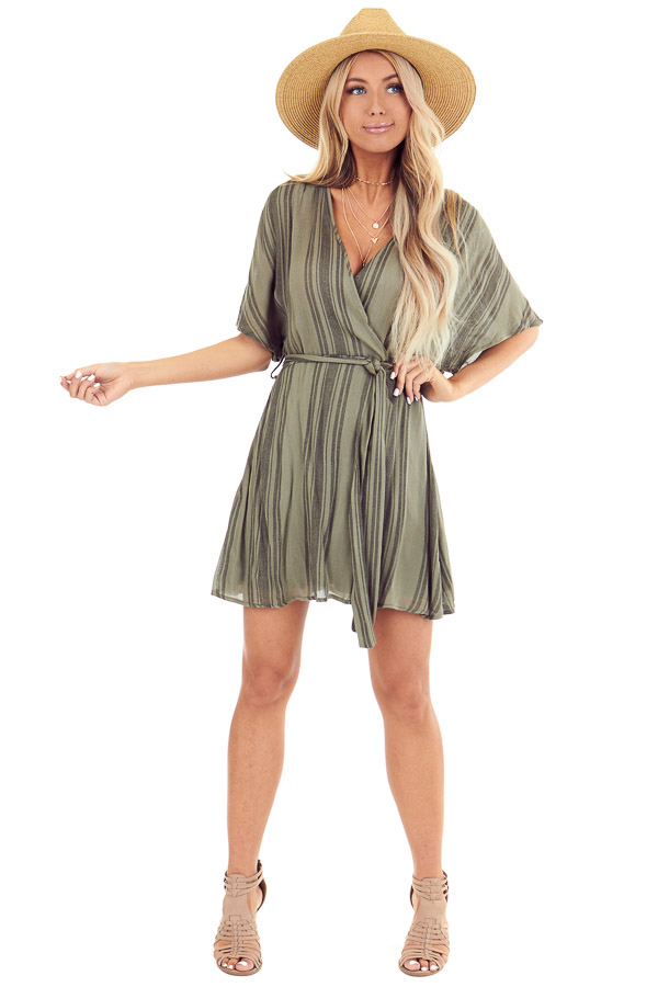 Olive Striped Surplice Dress with Short Sleeves and Waist Tie front full body