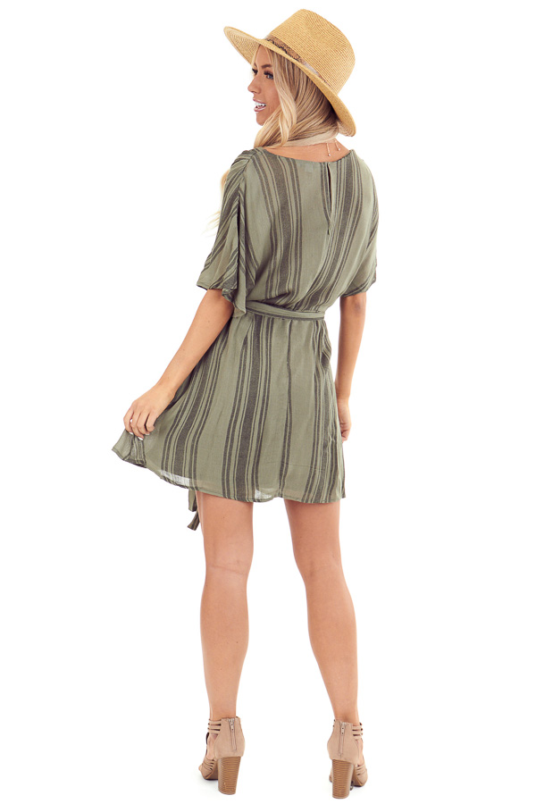 Olive Striped Surplice Dress with Short Sleeves and Waist Tie back full body