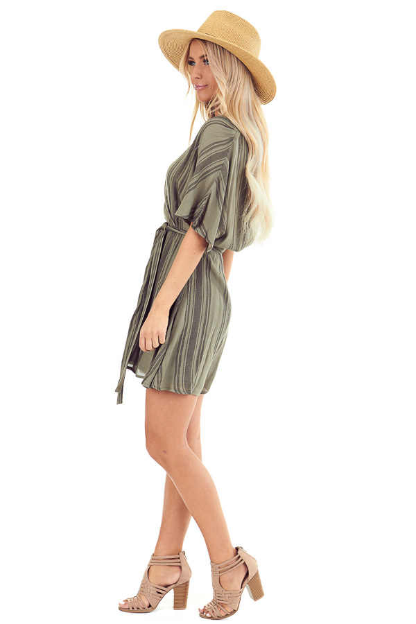 Olive Striped Surplice Dress with Short Sleeves and Waist Tie side full body