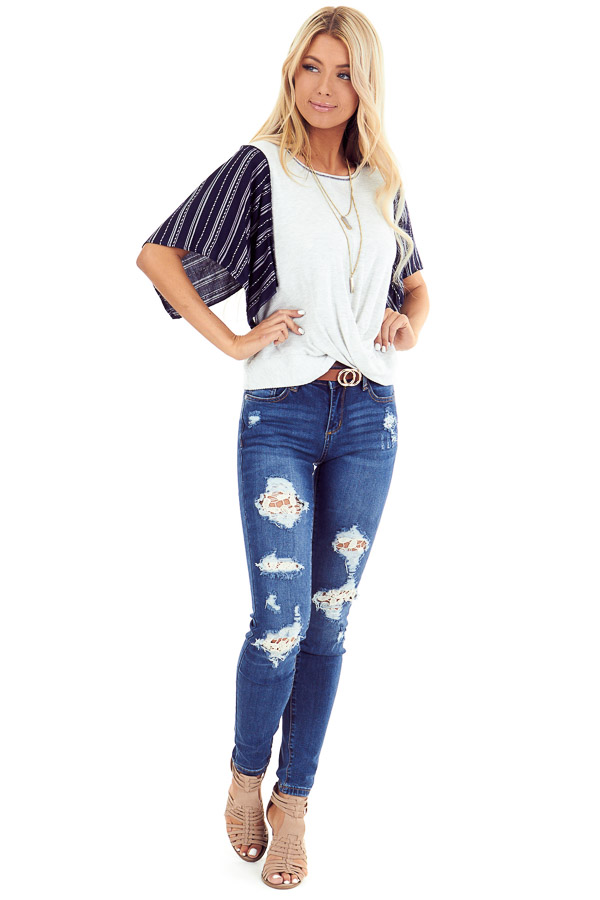 Heather Grey and Navy Kimono Sleeve Top with Front Twist front full body