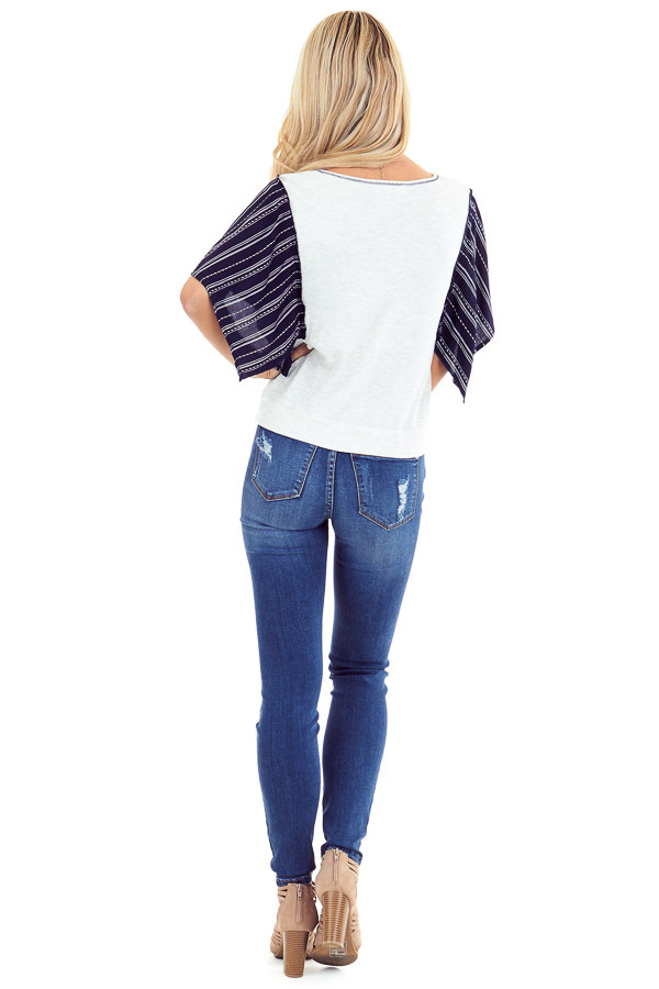 Heather Grey and Navy Kimono Sleeve Top with Front Twist back full body