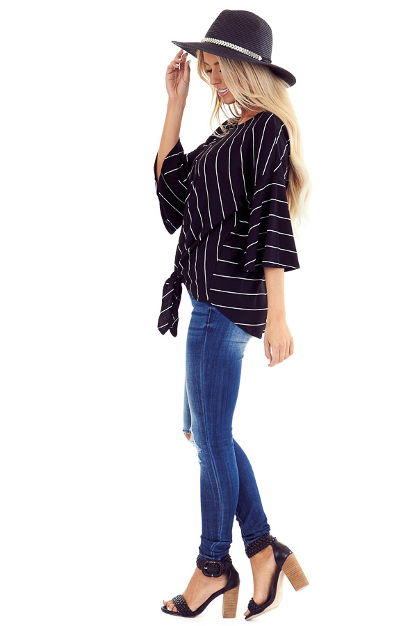 Black and Ivory Striped Trumpet Sleeve Top with Front Tie side full body