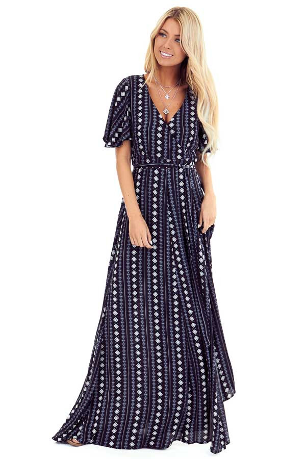 Midnight Short Sleeve Wrap Style Maxi Dress with Waist Tie front full body