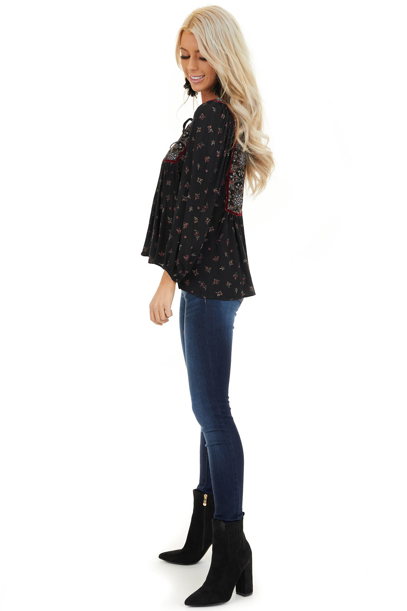 Onyx Black Floral Print 3/4 Sleeve Peasant Top with Tie side full body
