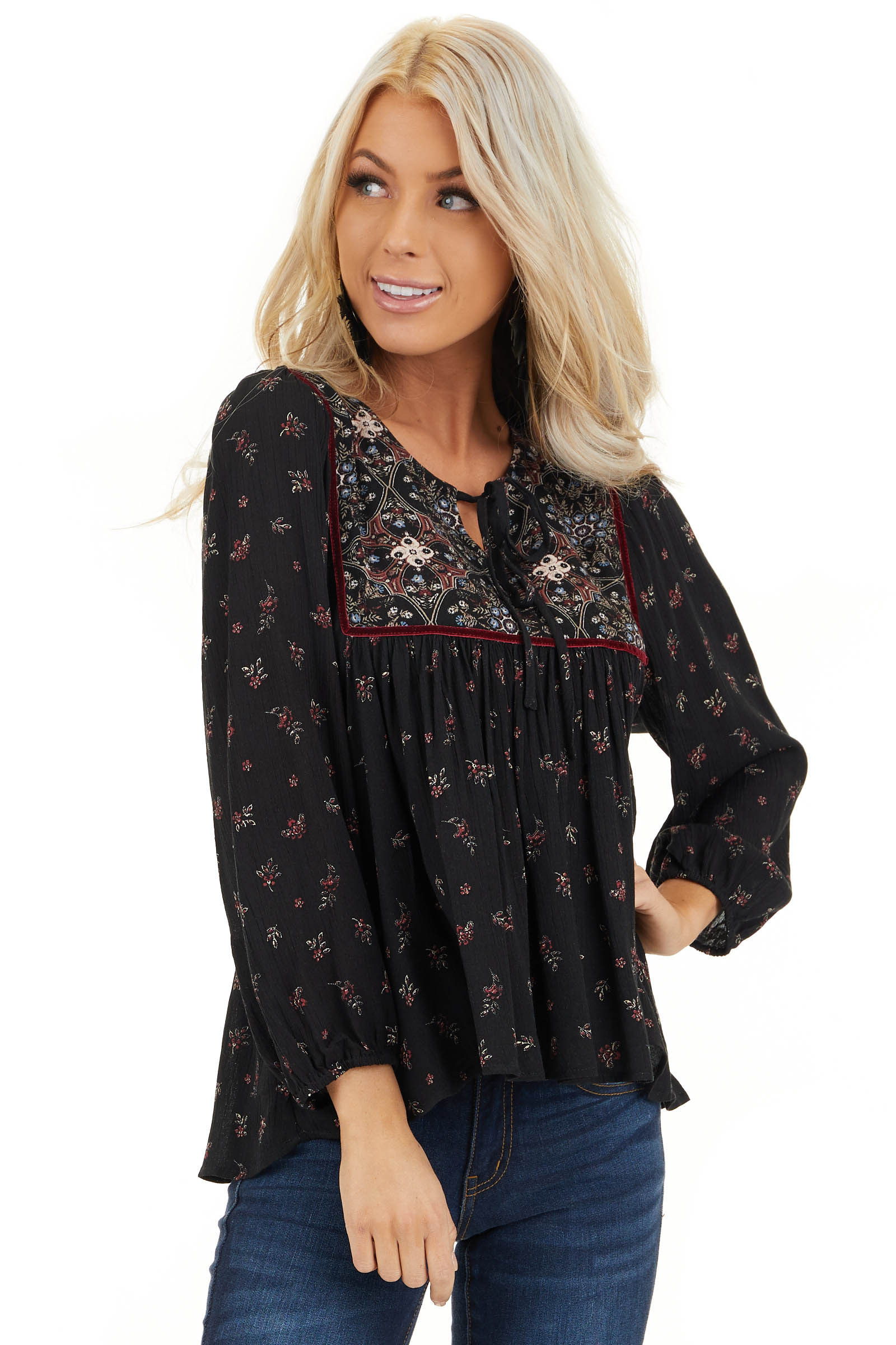 Onyx Black Floral Print 3/4 Sleeve Peasant Top with Tie front close up