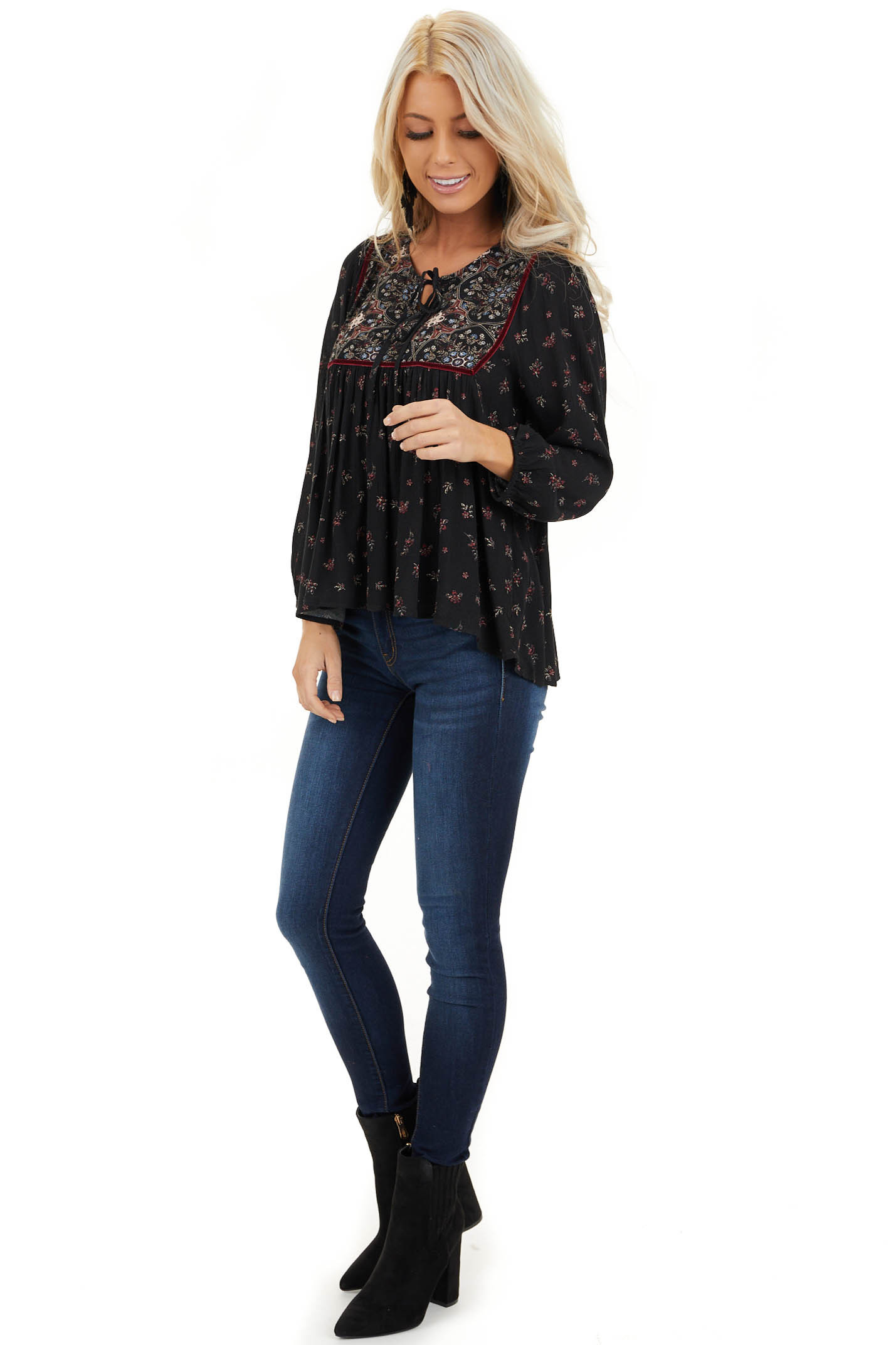 Onyx Black Floral Print 3/4 Sleeve Peasant Top with Tie front full body