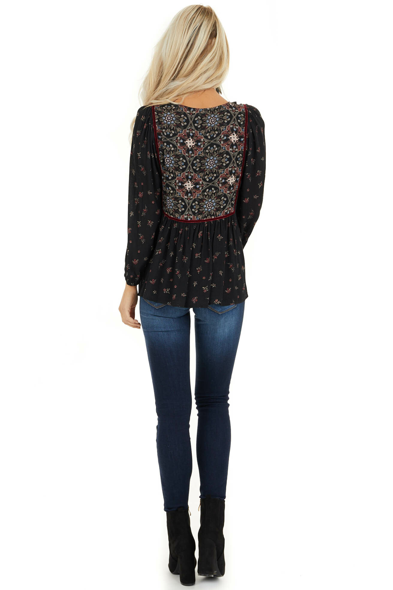 Onyx Black Floral Print 3/4 Sleeve Peasant Top with Tie back full body