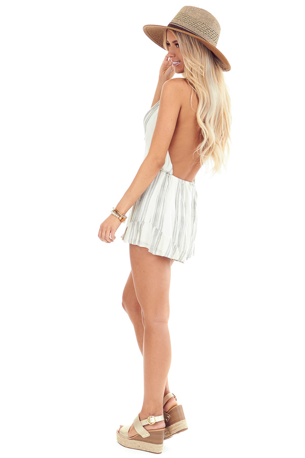 Ivory and Charcoal Striped Halter Tie Romper with Waist Tie side full body
