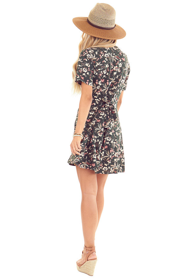 Forest Green Button Up Mini Dress with Floral Print back full body