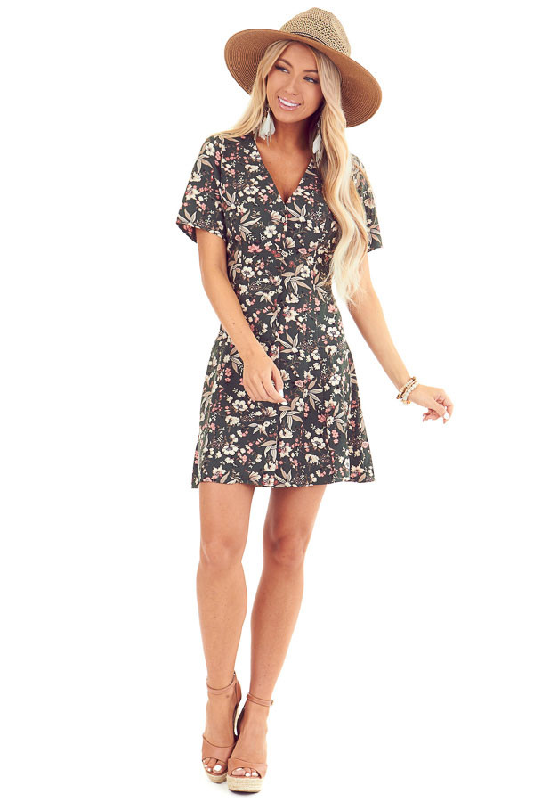 Forest Green Button Up Mini Dress with Floral Print front full body