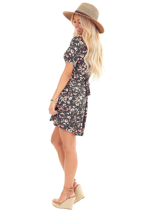 Forest Green Button Up Mini Dress with Floral Print side full body