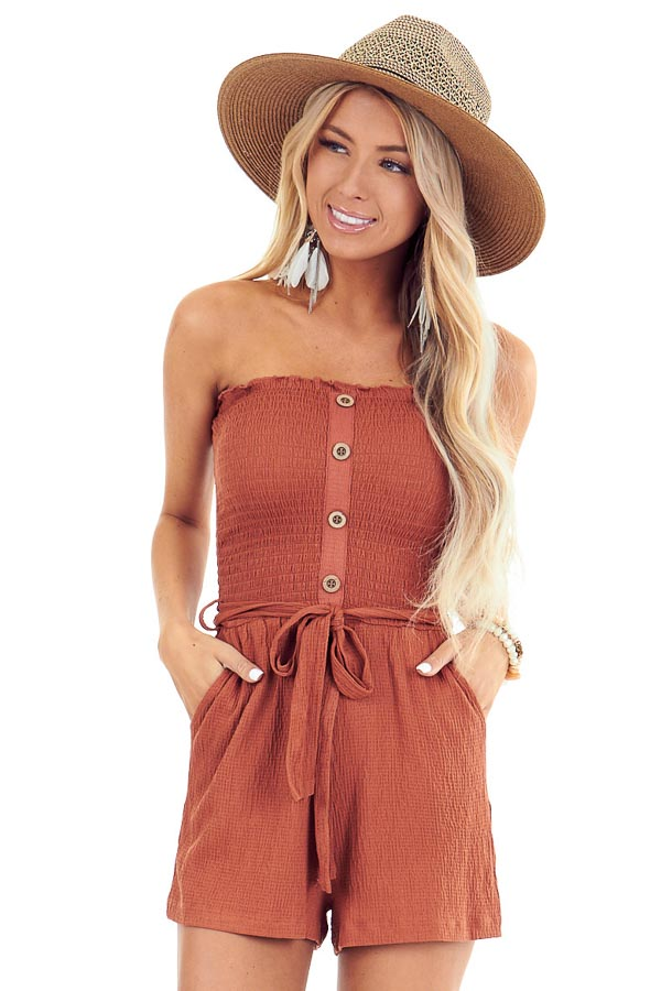 Rust Smocked Tube Top Romper with Pockets and Waist Tie front close up