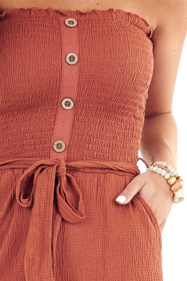 Rust Smocked Tube Top Romper with Pockets and Waist Tie detail
