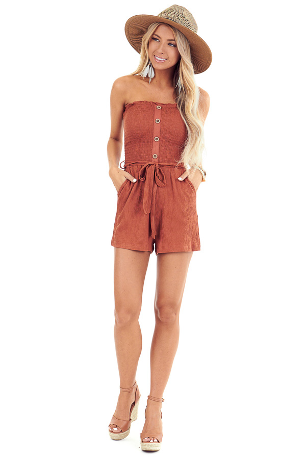 Rust Smocked Tube Top Romper with Pockets and Waist Tie front full body