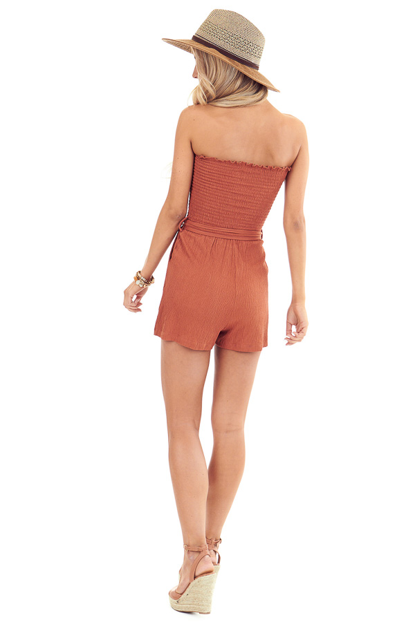 Rust Smocked Tube Top Romper with Pockets and Waist Tie back full body