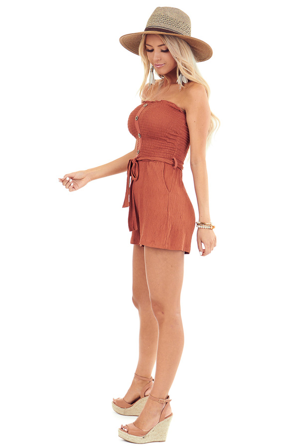 Rust Smocked Tube Top Romper with Pockets and Waist Tie side full body