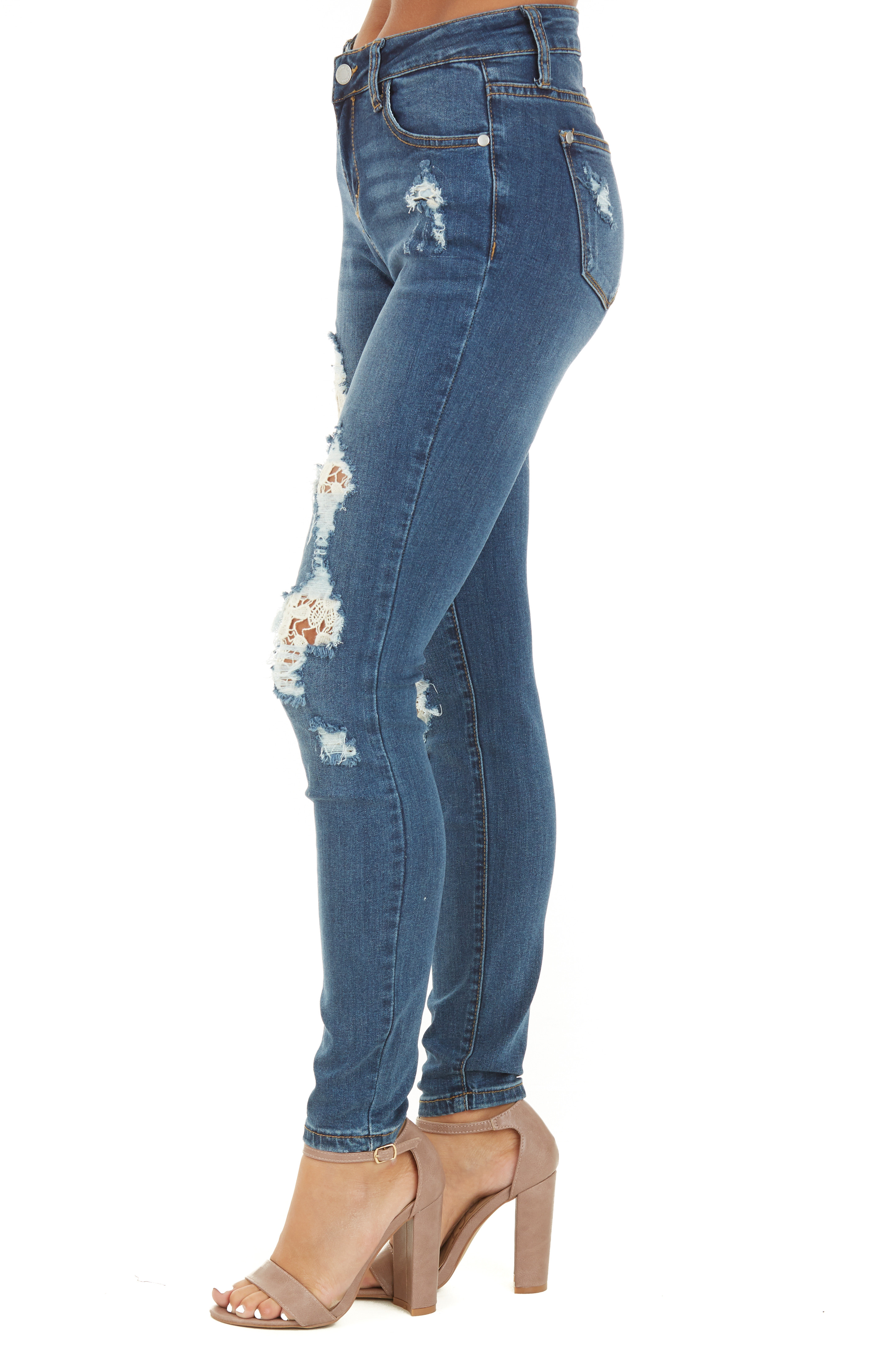 Medium Wash Distressed Skinny Jeans with Lace Details side