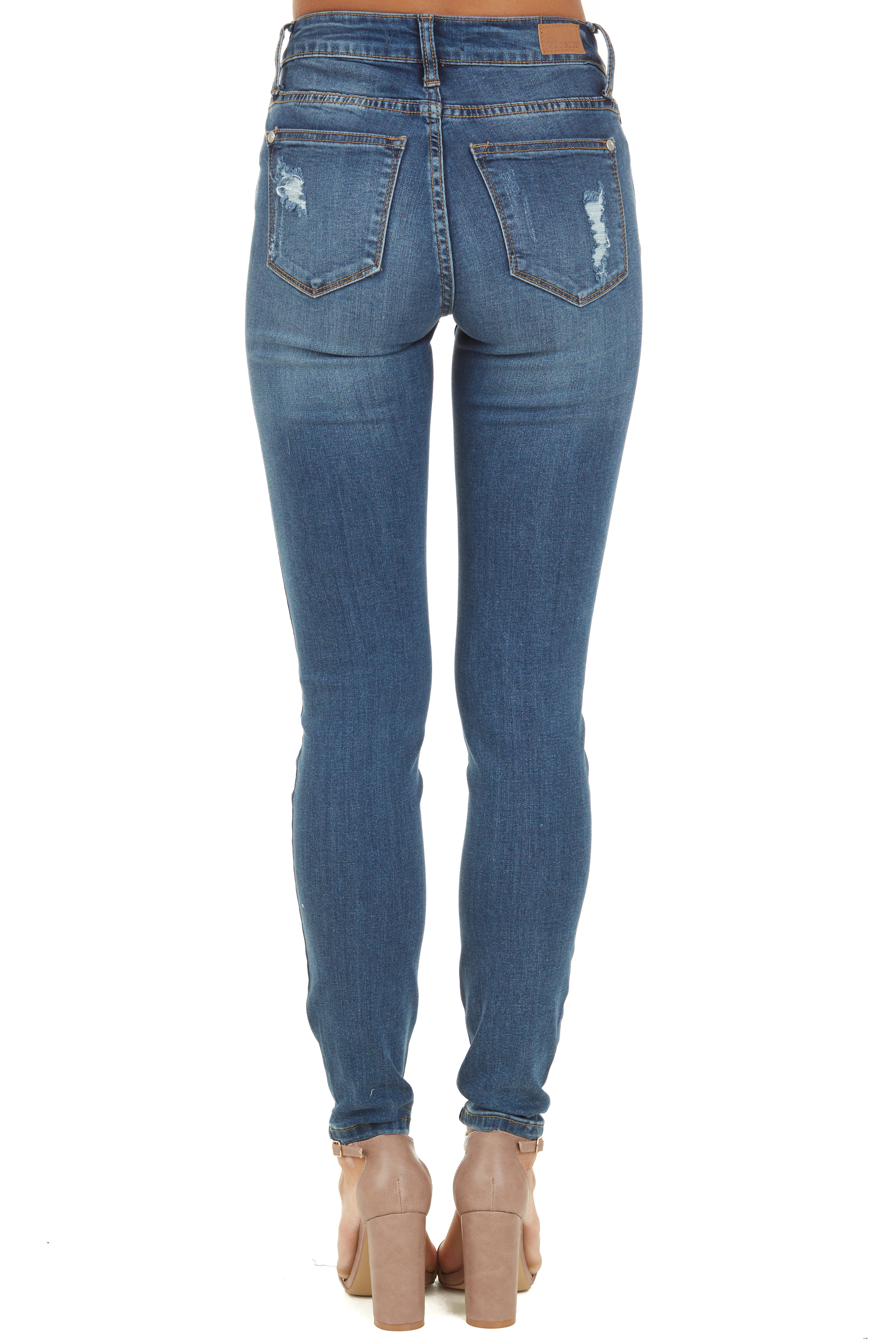Medium Wash Distressed Skinny Jeans with Lace Details back