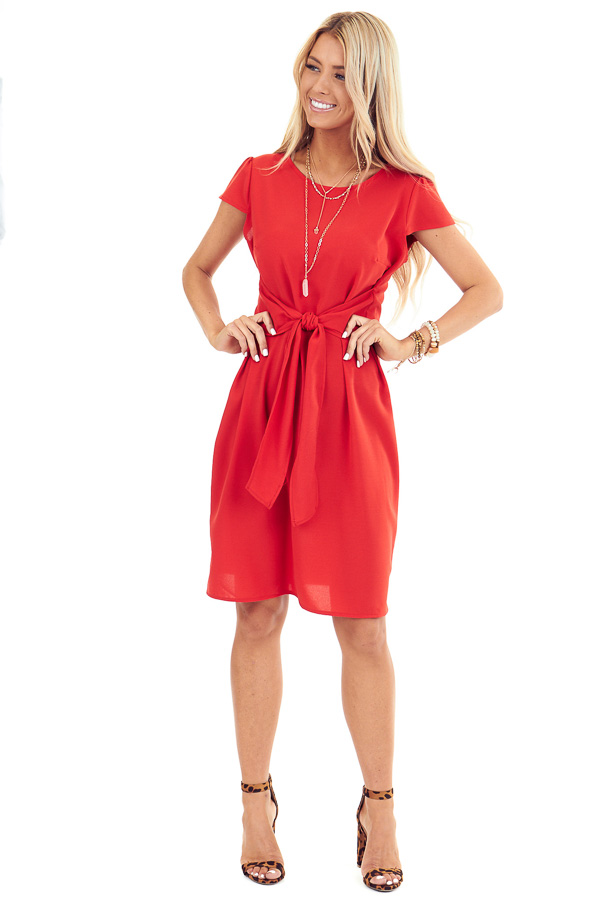 Candy Red Short Sleeve Mini Dress with Front Self Tie front full body