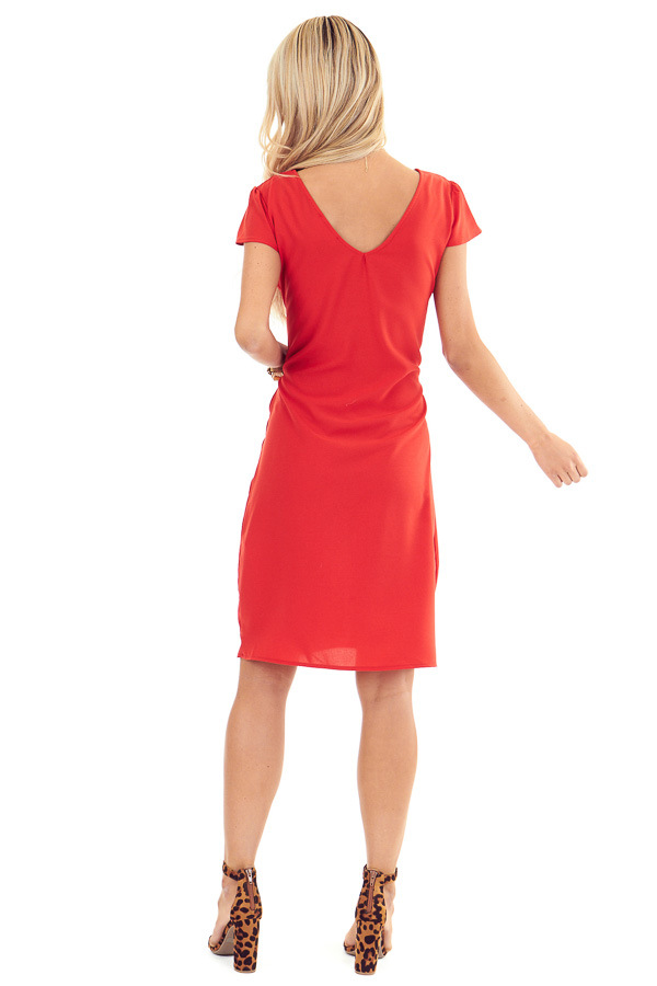 Candy Red Short Sleeve Mini Dress with Front Self Tie back full body