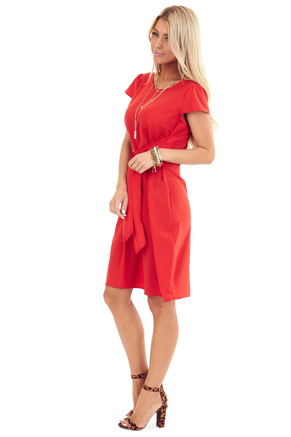 Candy Red Short Sleeve Mini Dress with Front Self Tie side full body