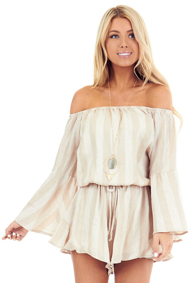 Tan and Linen Striped Off the Shoulder Bell Sleeve Romper front close up