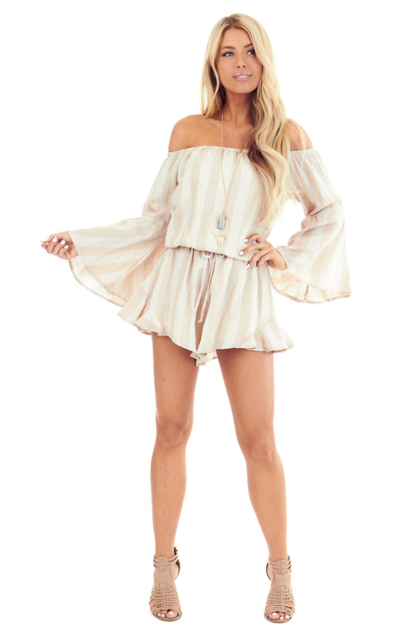 Tan and Linen Striped Off the Shoulder Bell Sleeve Romper front full body