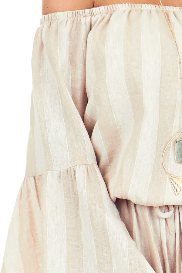 Tan and Linen Striped Off the Shoulder Bell Sleeve Romper detail