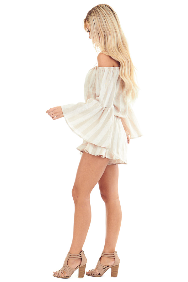 Tan and Linen Striped Off the Shoulder Bell Sleeve Romper side full body
