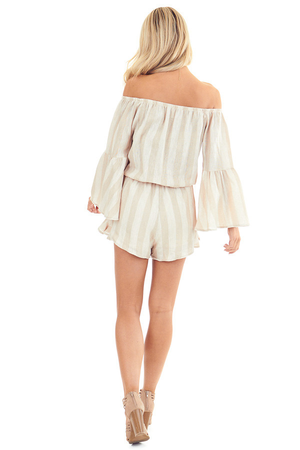 Tan and Linen Striped Off the Shoulder Bell Sleeve Romper back full body