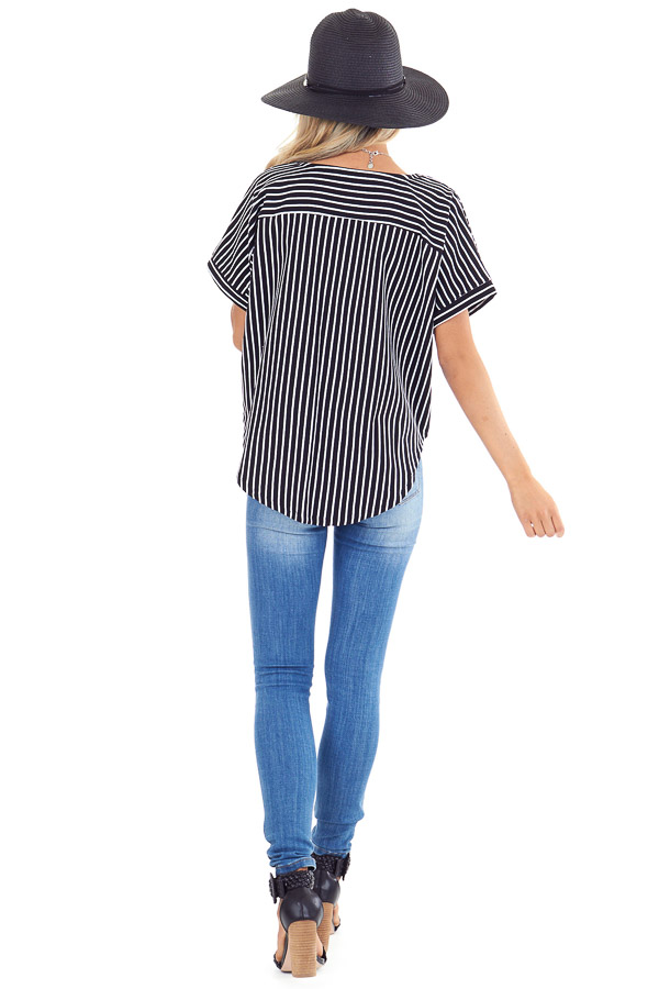 Ebony and Ivory Striped Short Sleeve Top with Pocket and Tie back full body