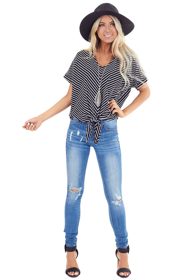 Ebony and Ivory Striped Short Sleeve Top with Pocket and Tie front full body