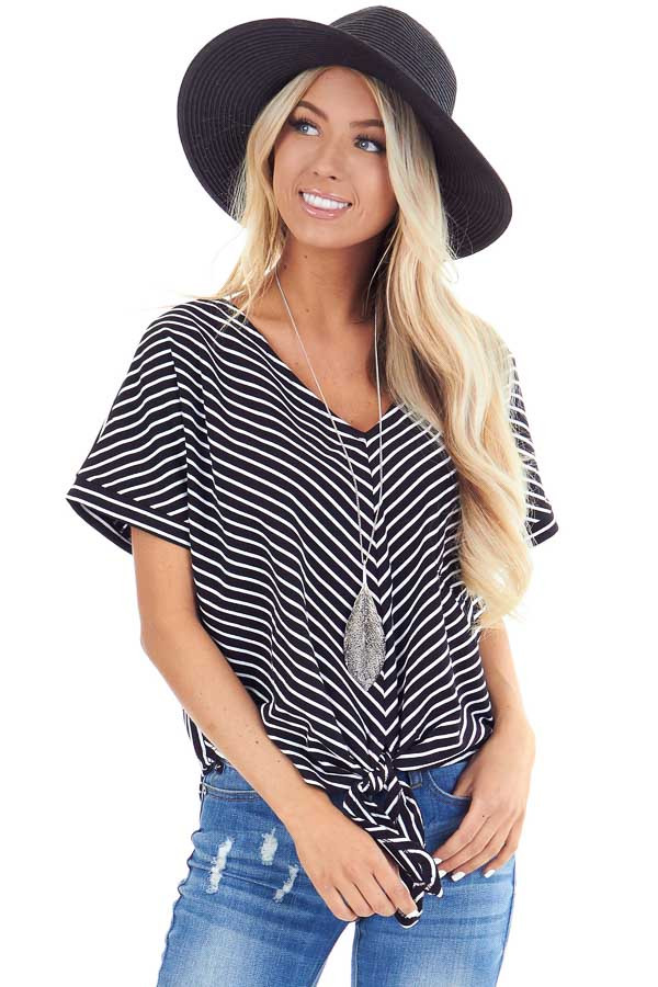 Ebony and Ivory Striped Short Sleeve Top with Pocket and Tie front close up
