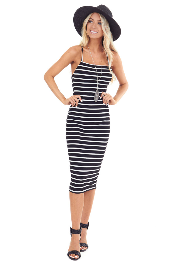 Black and Pure White Striped Ribbed Dress with Lace Up Back front full body