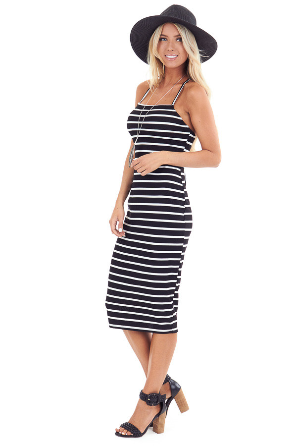 Black and Pure White Striped Ribbed Dress with Lace Up Back side full body